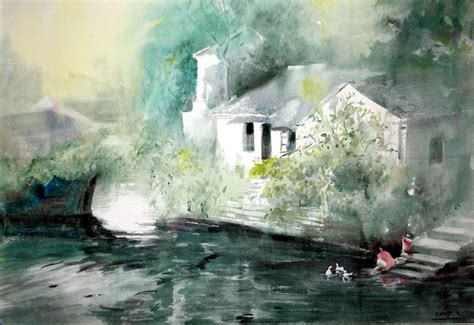 Chinese Painting: A countryside, watercolor - Chinese