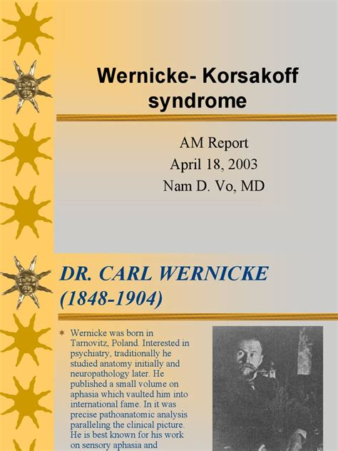 Wernicke Korsakoff Syndrome | Diseases And Disorders