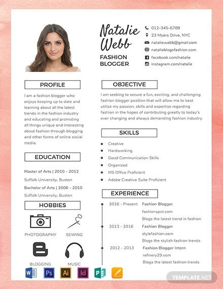 FREE Best Fashion CV Template: Download 1685+ Resume