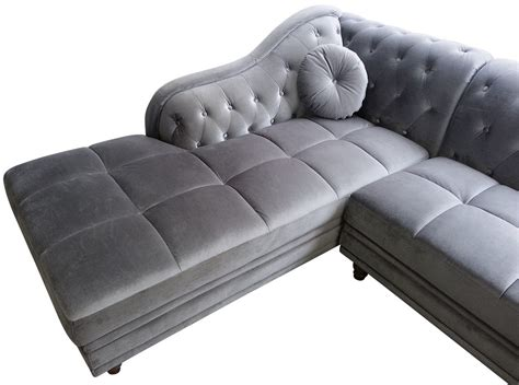 Canapé d'angle Gauche Empire Velours Argent style Chesterfield