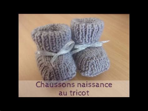 Chaussons taille naissance au tricot - YouTube