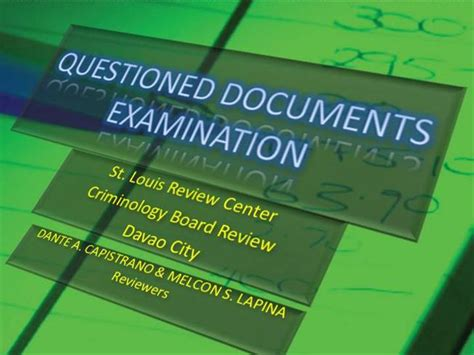 QUESTIONED DOCUMENTS EXAMINATION Discussions