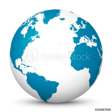 """""""White 3D Globe Icon with Blue Continents and Atlantic"""