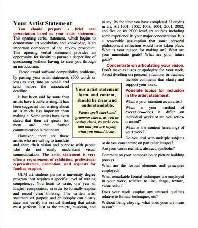 Artist Statement Examples - 8+ Free PDF Documents Download