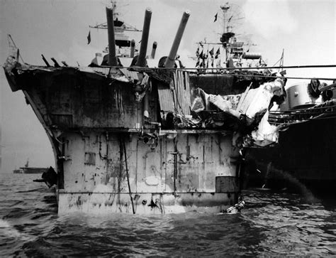 Head on view of USS Pittsburgh (CA-72), in port in Guam