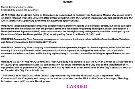 Carried! Ottawa City Council Approves CFco's MAA