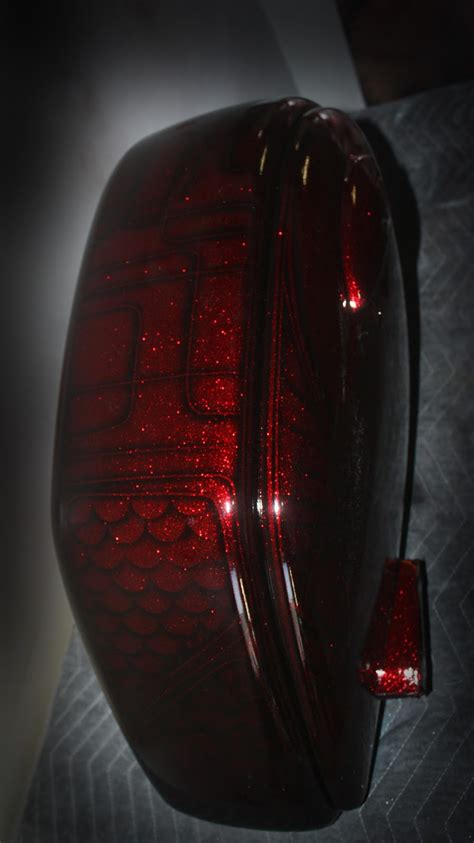 Online Motorcycle Paint Shop: Candy red metal flake on black